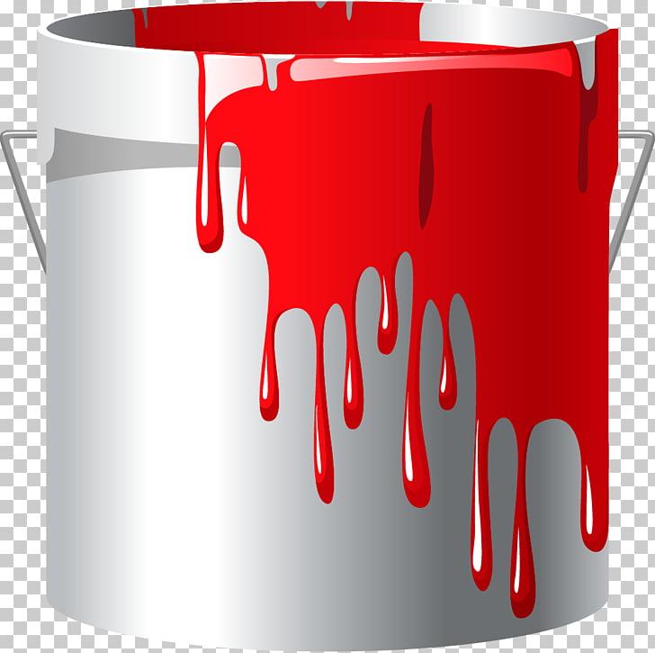 Bucket Paint roller Paintbrush Handle, Cartoon white paint.