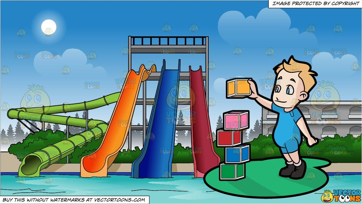clipart #cartoon A Male Toddler Building Blocks and Water.