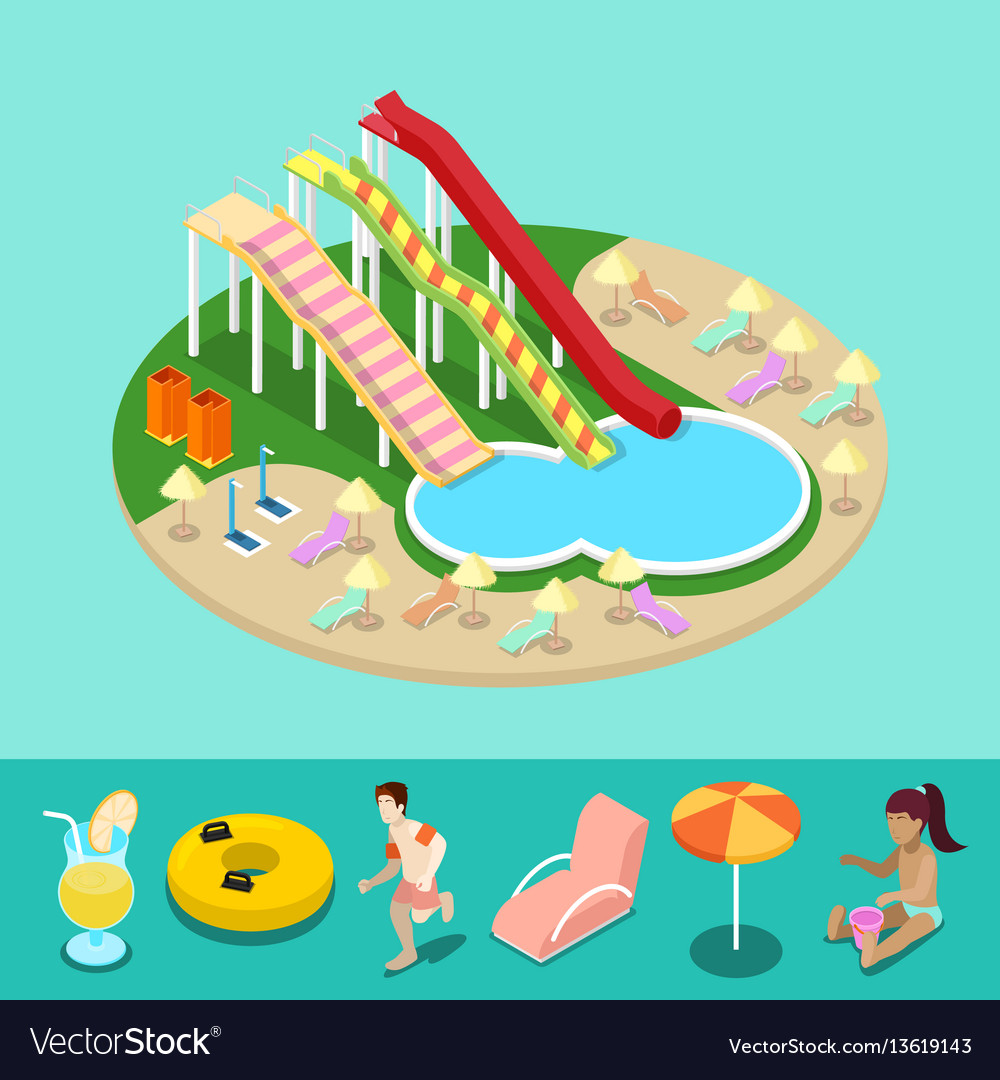 Isometric aqua park with water slides and pool.