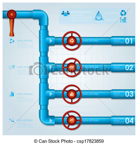 Clipart Vector of Water Pipe Business Infographic Design Template.