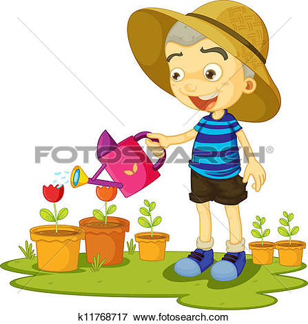 Clipart of Children standing on plant in water u11512711.