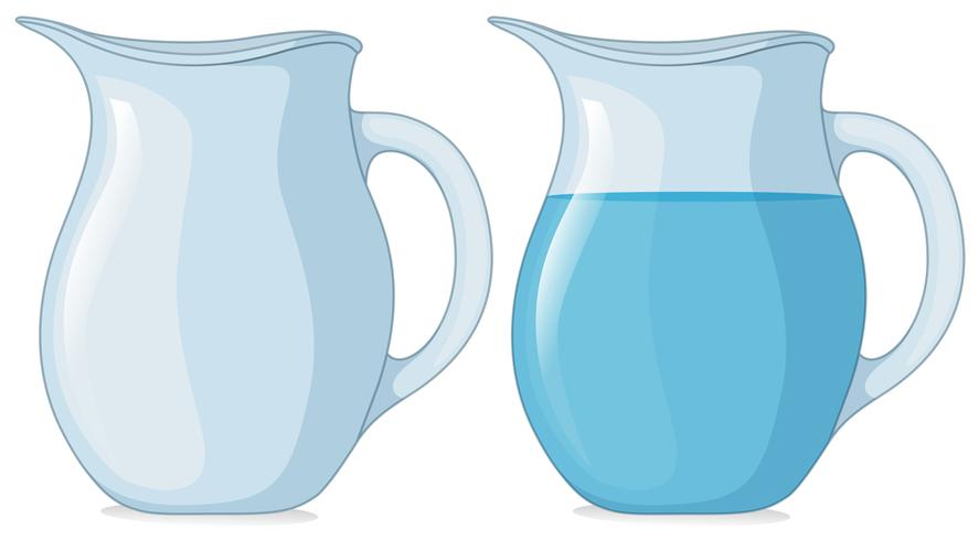 Two jars with and without water.