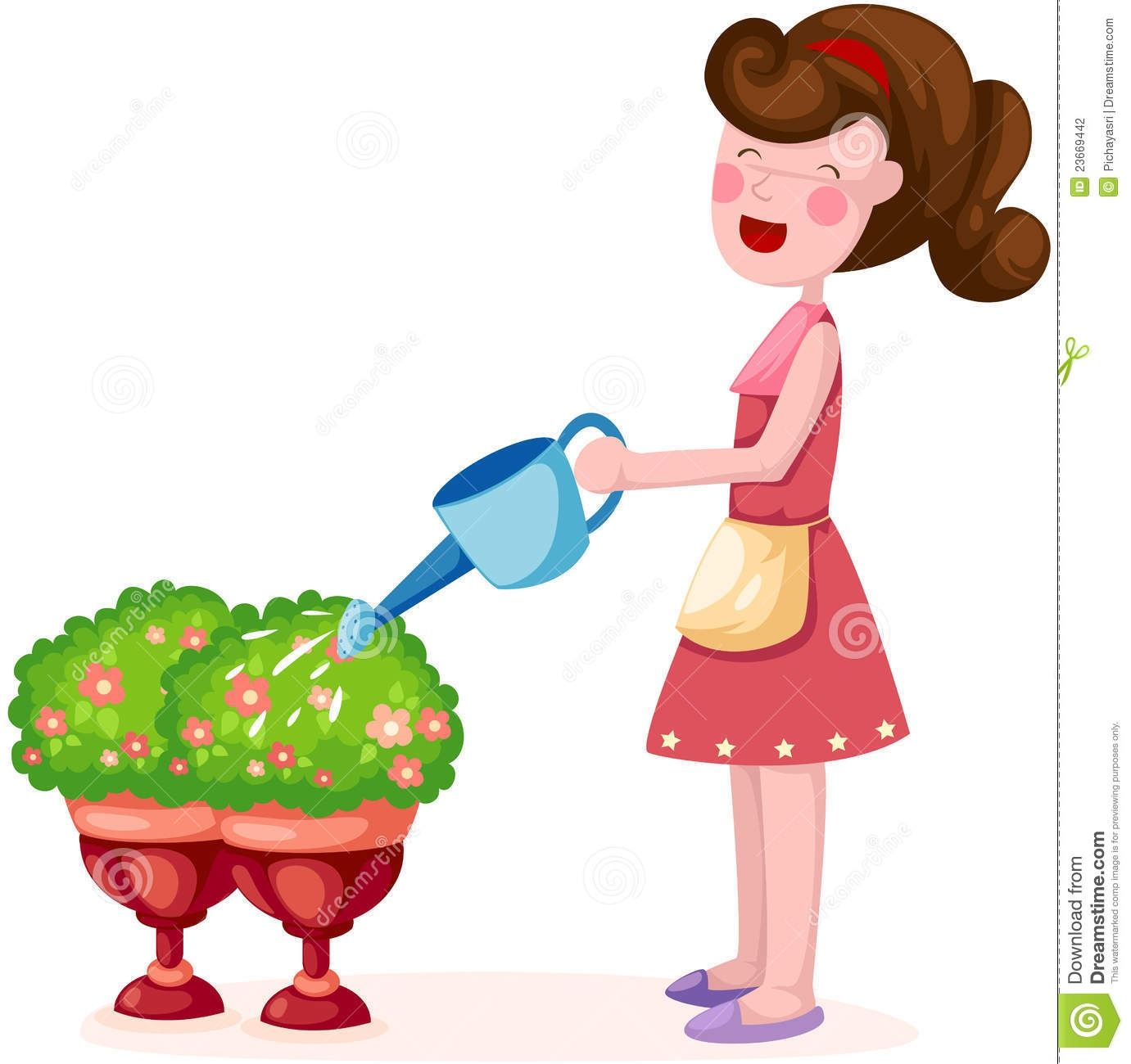 Girl watering plant clipart.