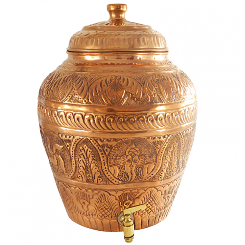Indiancartvilla Pure Copper Nakkashi Water Pot.