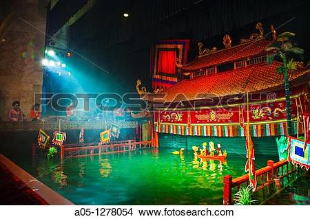 Stock Photo of Roi nuoc Water Puppet originating in the Red River.
