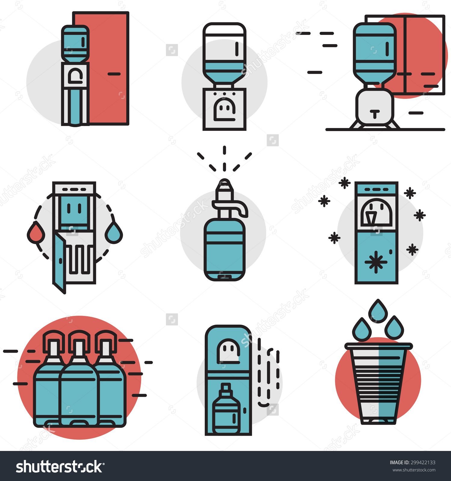 Flat line design blue and red vector icons for water cooler.