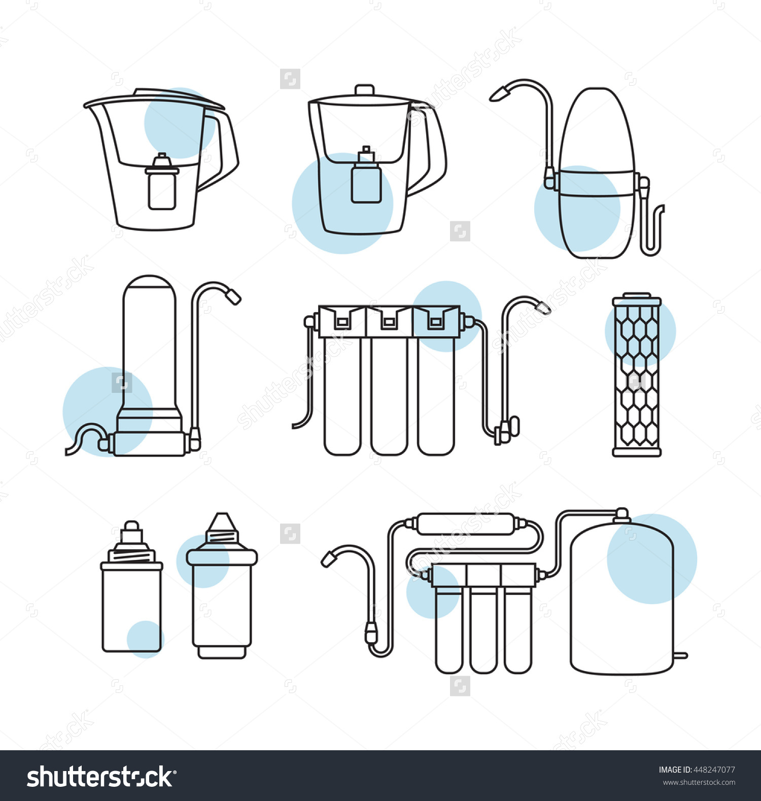 Water Filter Isolated Vector Icons Linear Stock Vector 448247077.