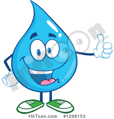 Water Drop Clipart #1206153: Happy Blue Water Drop Holding a Thumb.
