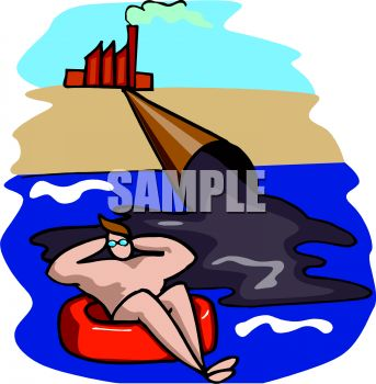 Pollution of water clipart.