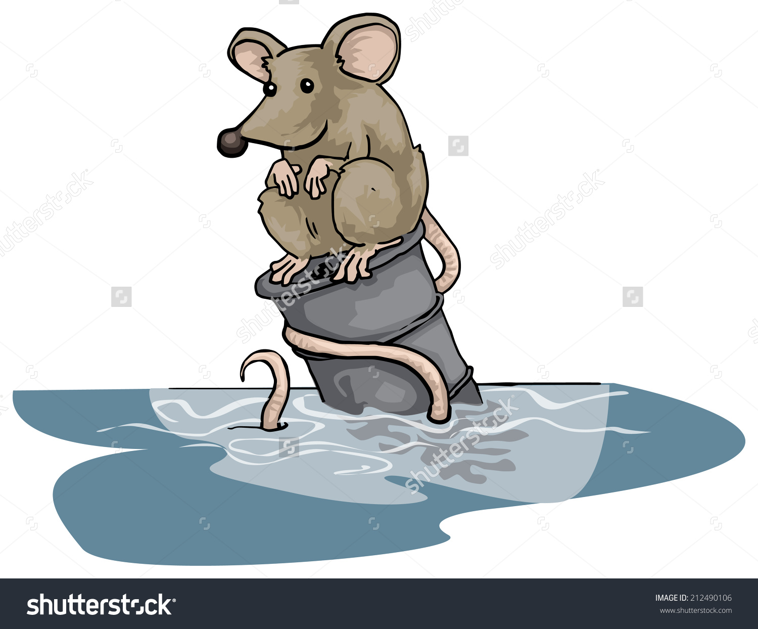 Lonely Rat Sitting On Floating Can Stock Vector 212490106.