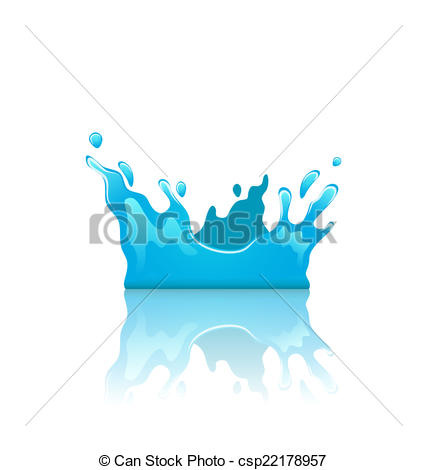 Clipart Vector of Blue water splash crown with reflection.