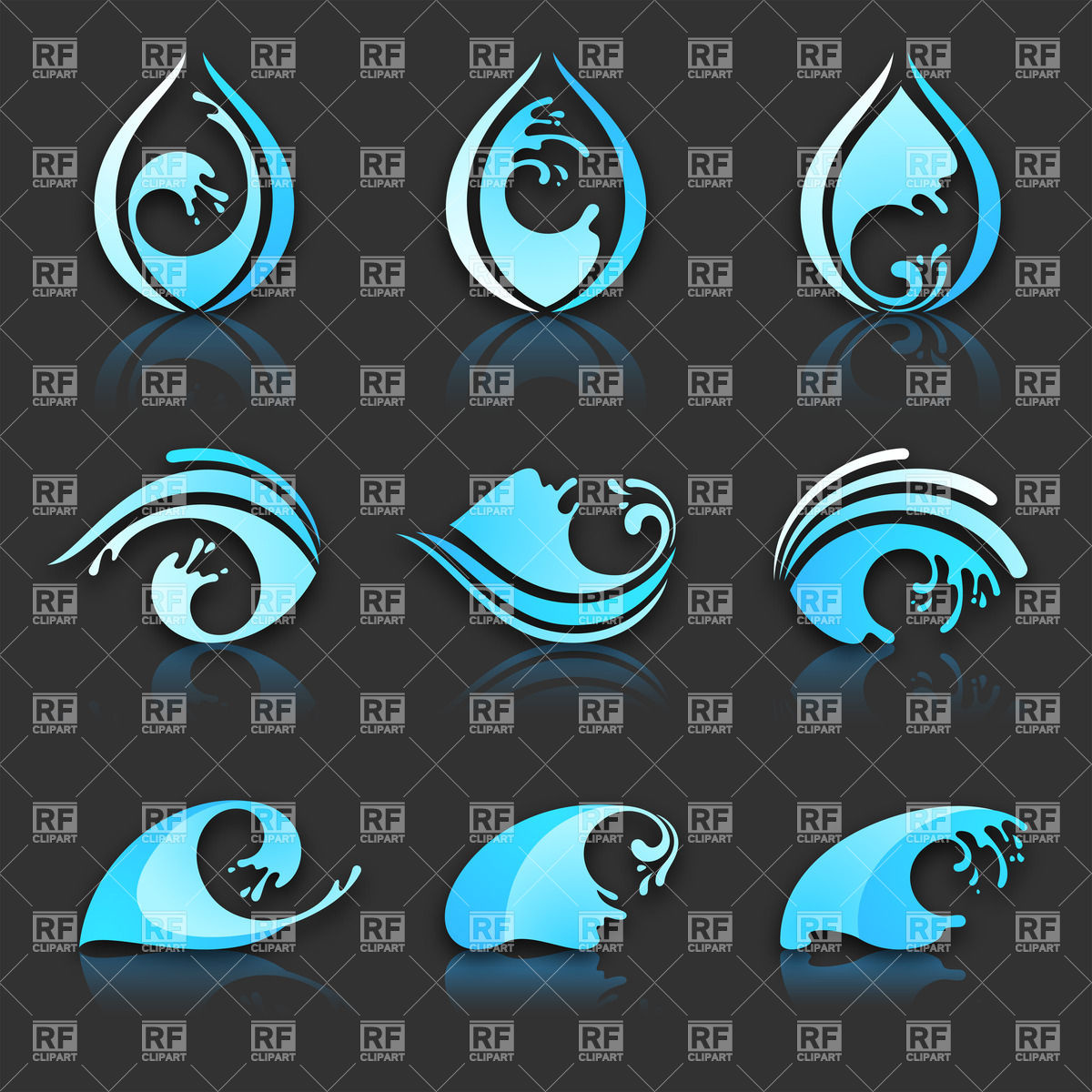 Water drop and wave icons with reflection on black background.