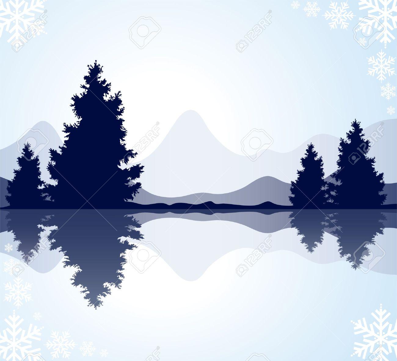 Reflection in Lake Clip Art.