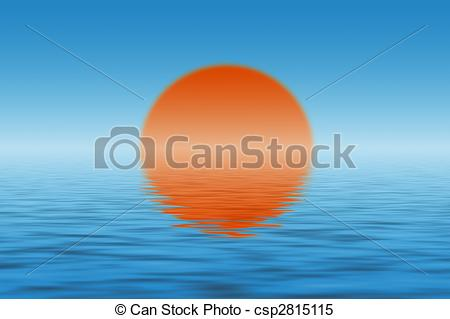 Stock Illustrations of Sun over the sea and its reflection in.