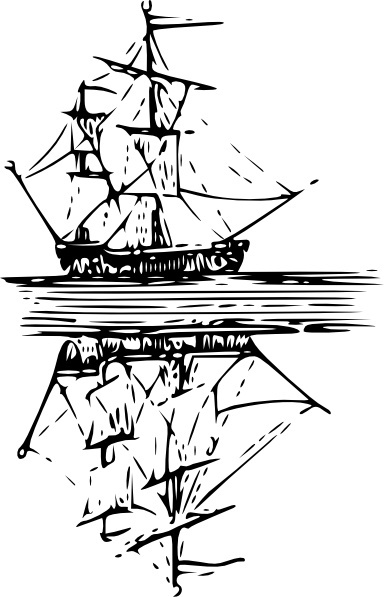 Cibo Boat Reflection On Water clip art Free vector in Open office.