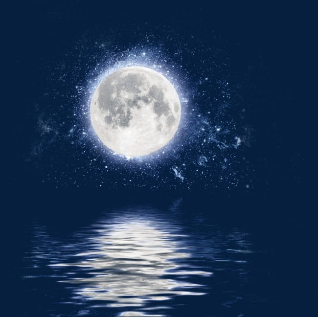 Water moonlight reflection PNG clipart.