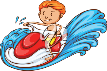 Illustration of a drawing of a boy enjoying the water ride.