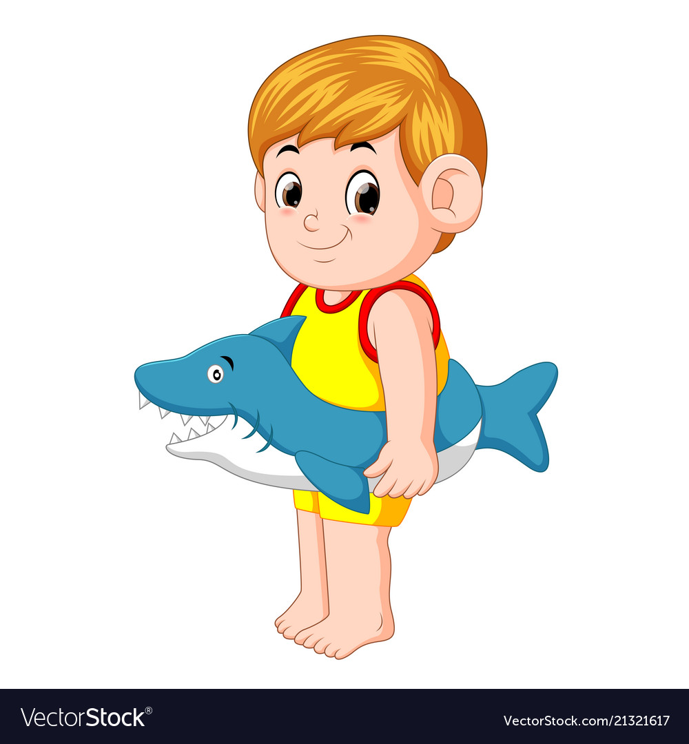 Boy playing with shark inflatable ring.