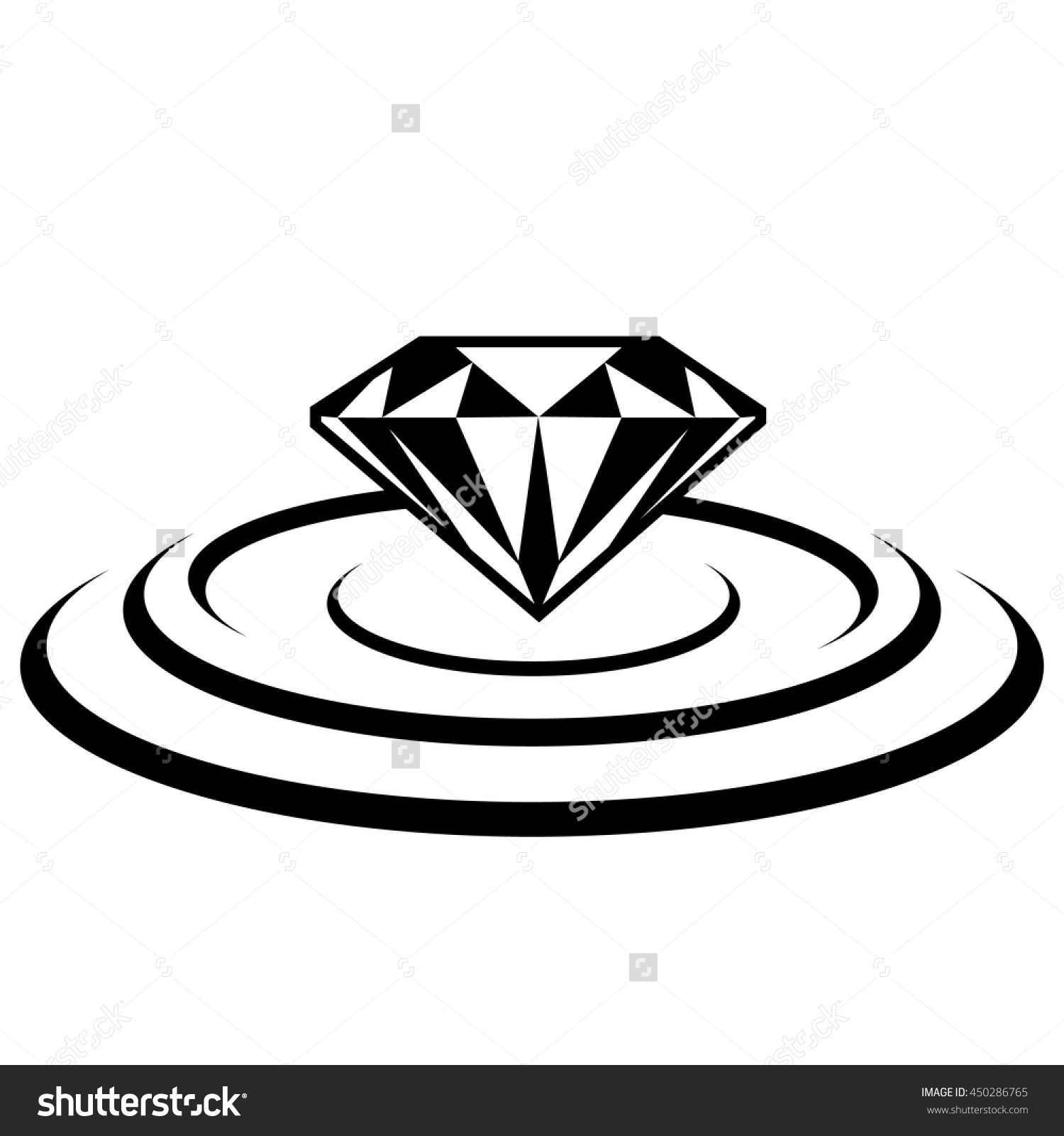 Diamond Over Water Ripples. Stock Vector Illustration 450286765.