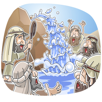 Christian clipArts.net _ Water from the rock at Horeb.