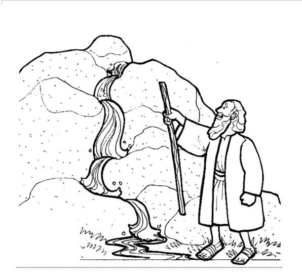 Clipart for moses drawing water from the rock.