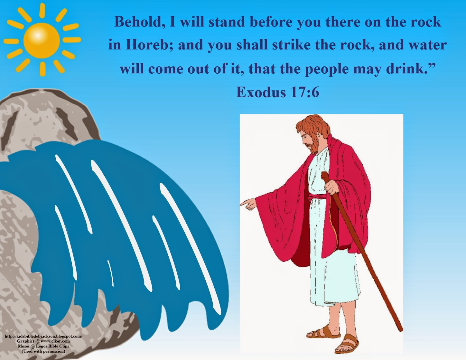 Clipart moses brings water from a rock.