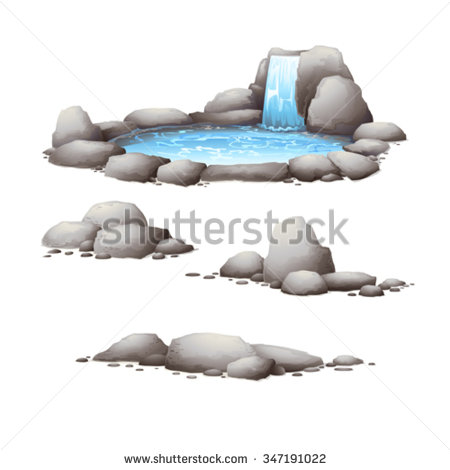 Rock with Water Clip Art.
