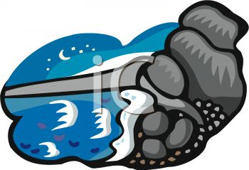 Picture of Rocks and Water In a Night Scene In a Vector Clip Art.