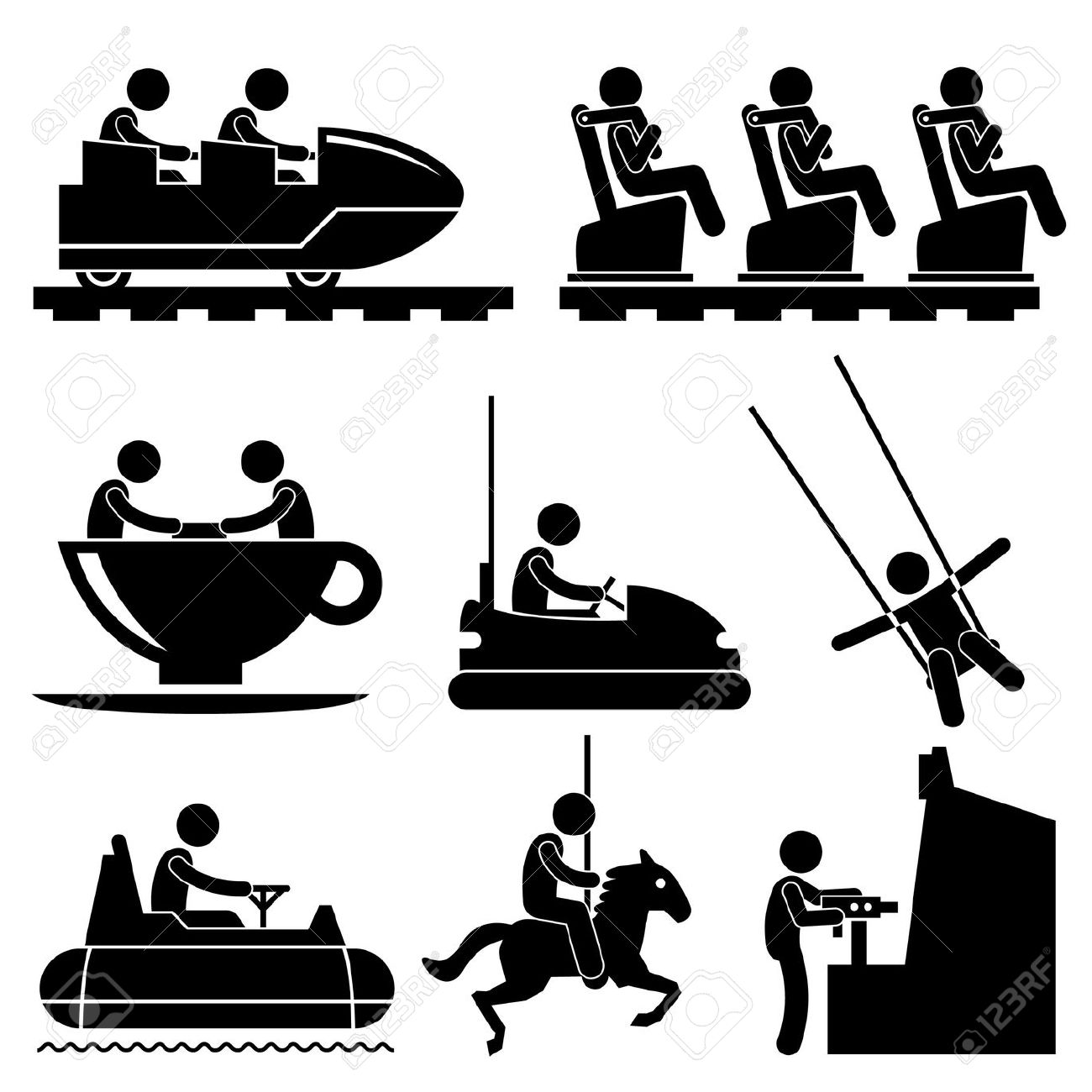 Water ride theme park black and white clipart.