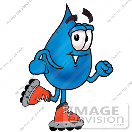 Clip Art Graphic of a Blue Waterdrop or Tear Character Roller.