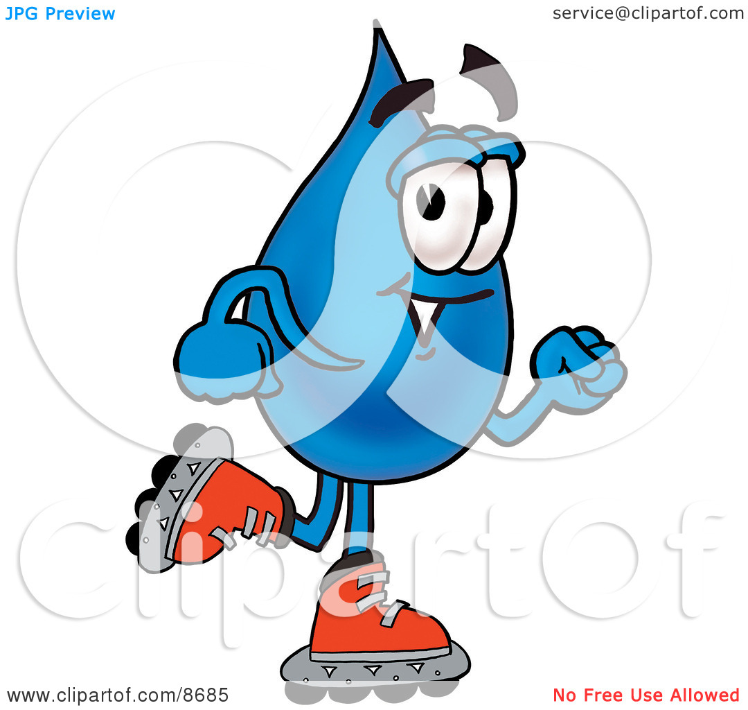 Clipart Picture of a Water Drop Mascot Cartoon Character Roller.