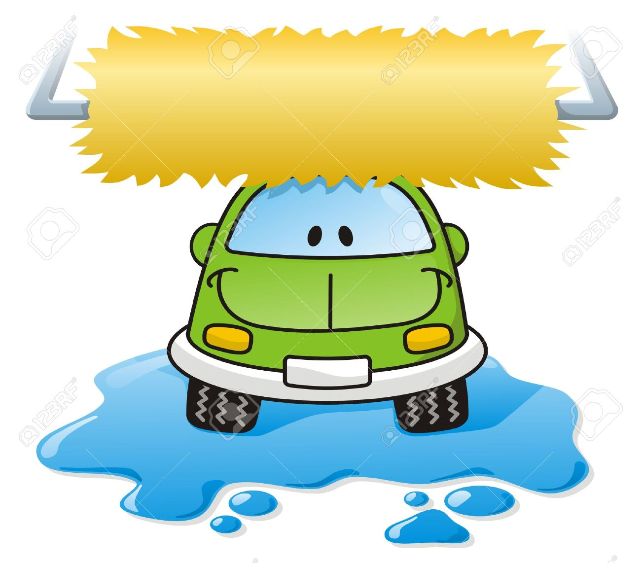 Cartoon Car Washing With Roller Brush And Water Splash Royalty.