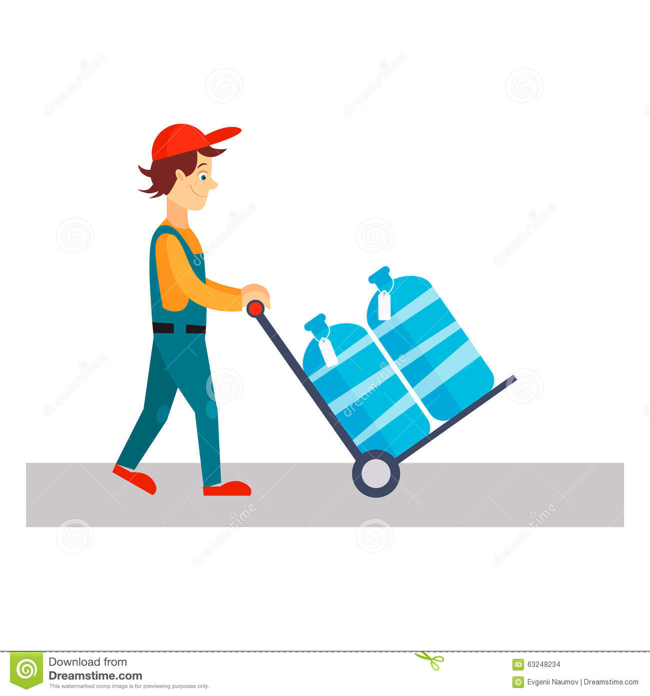 Delivery Man With Water, Vector Illustration Stock Vector.