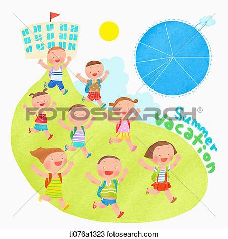 Clipart Children Running Out Of The School.