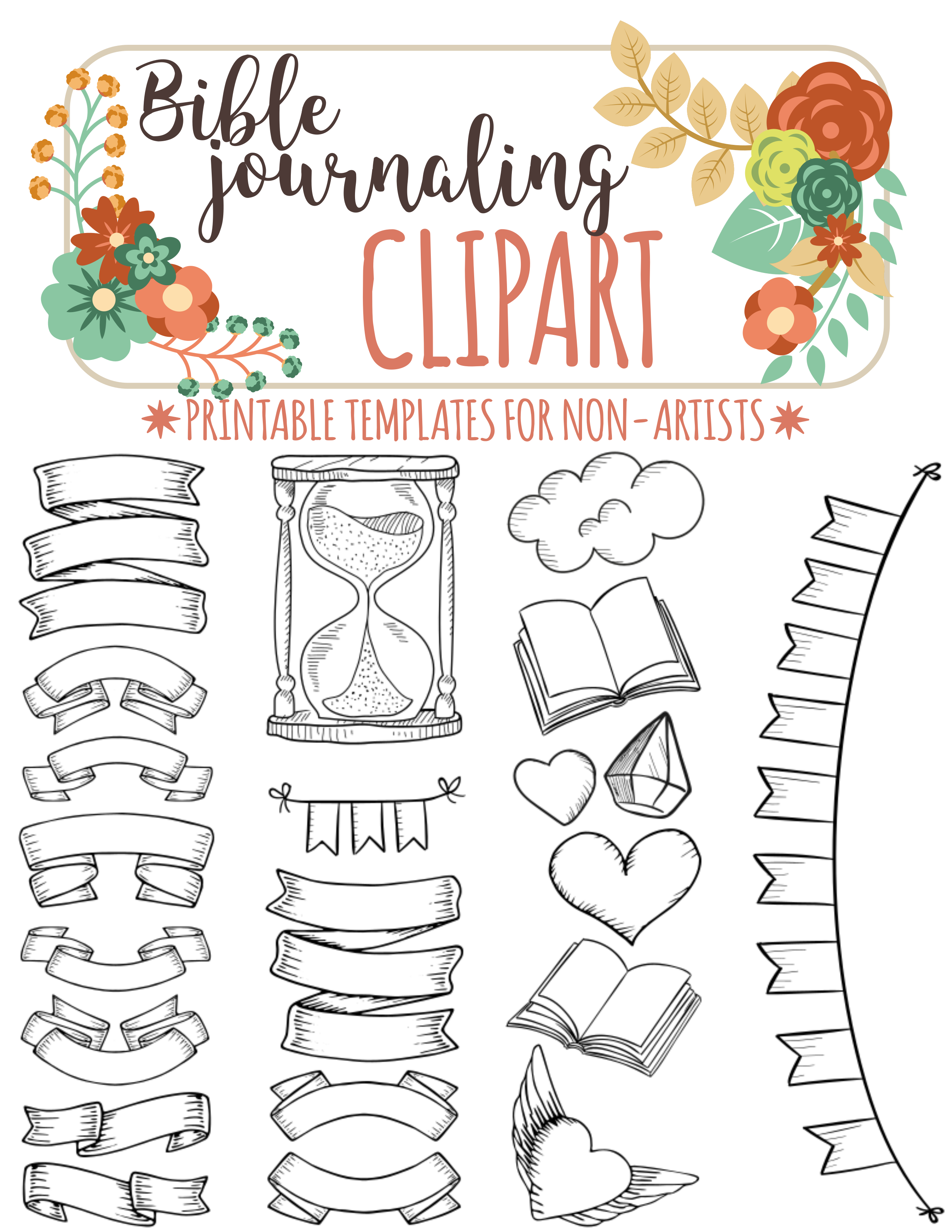56 PRINTABLE TEMPLATES for bible journaling verse art, illustrated.