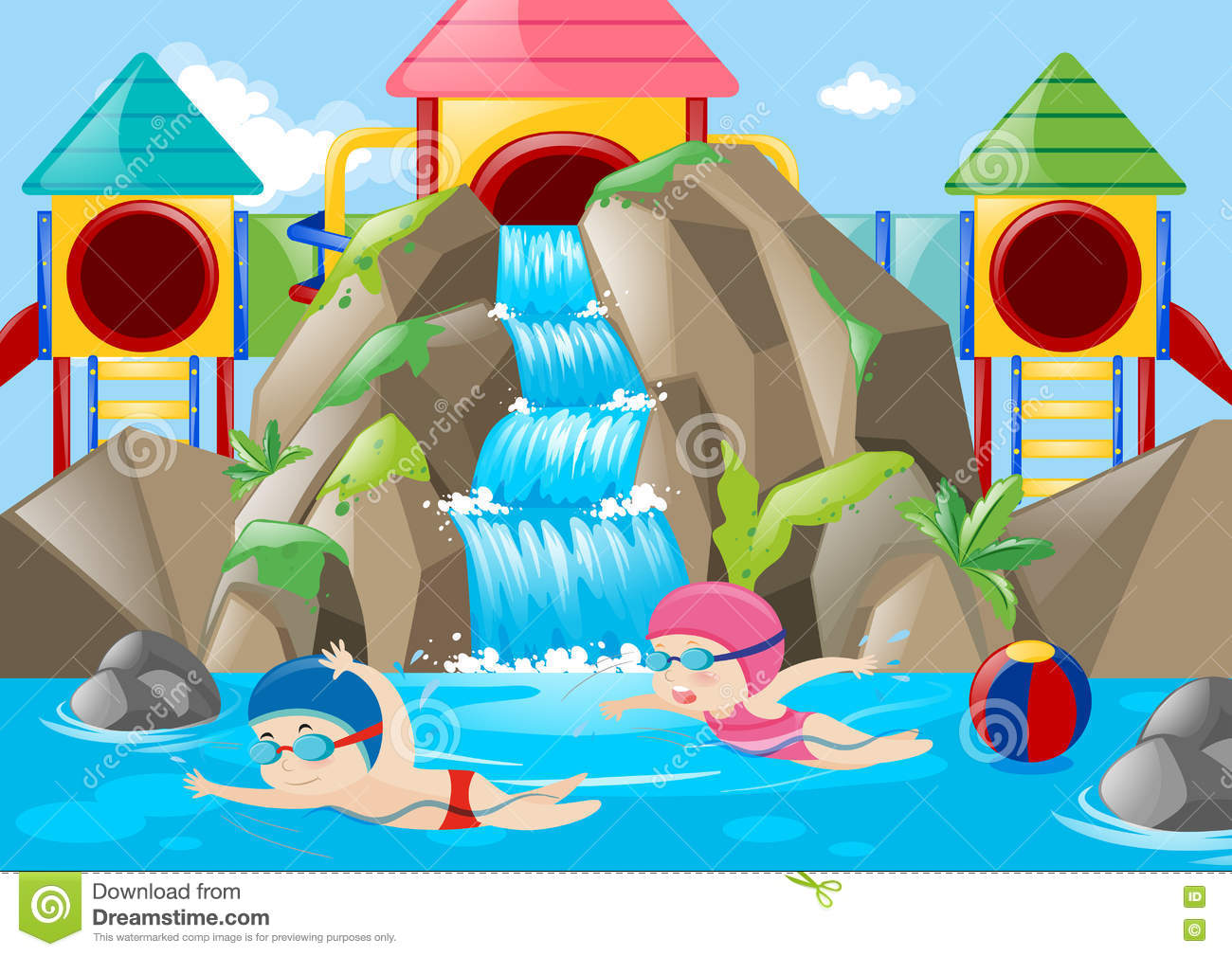 Scene With Kids Swimming In The Water Park Stock Vector.