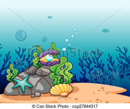 Clip Art of An underwater scene with sunrays shining through the.
