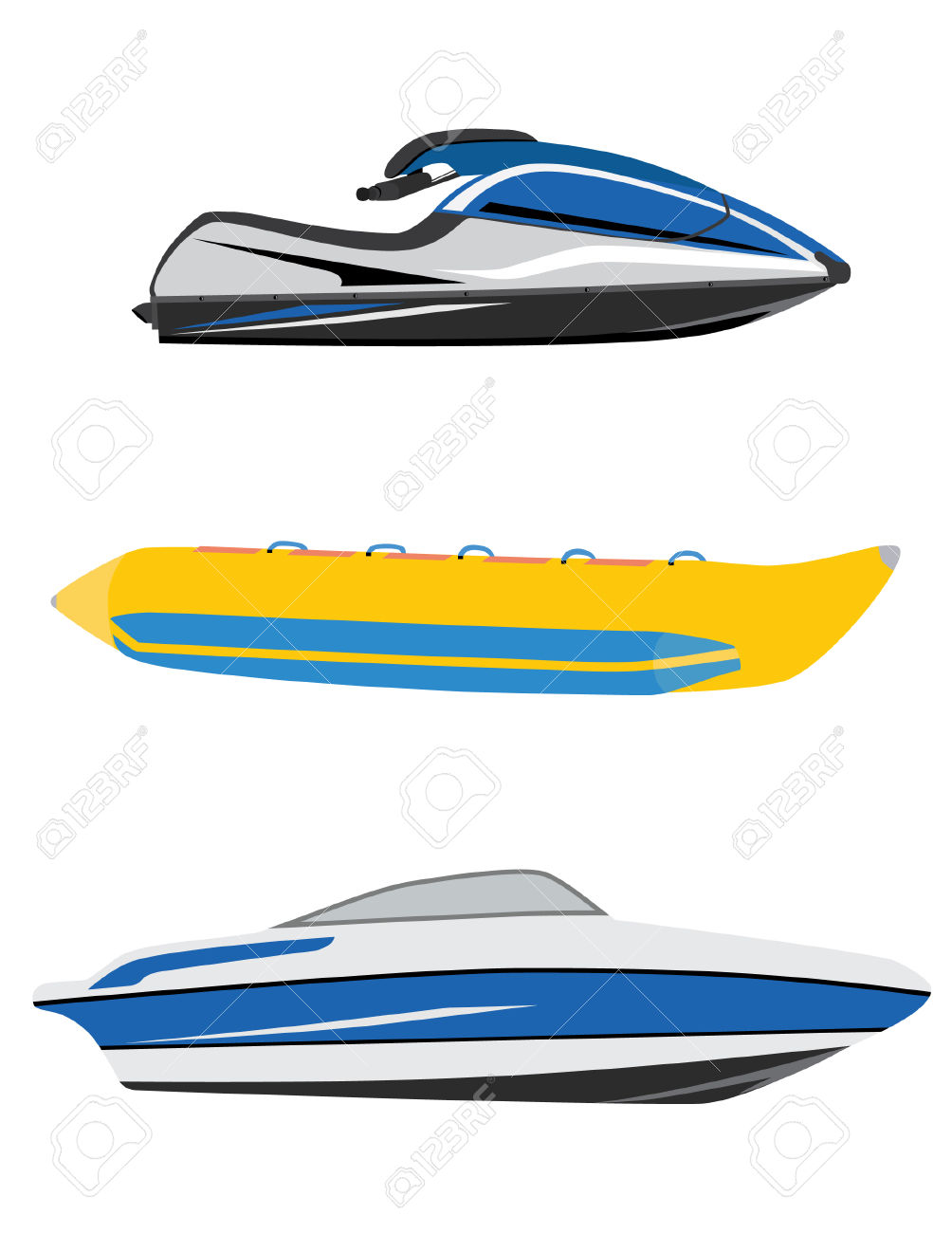 Water Transport Banana Boat, Luxury Boat And Water Scooter, Jet.
