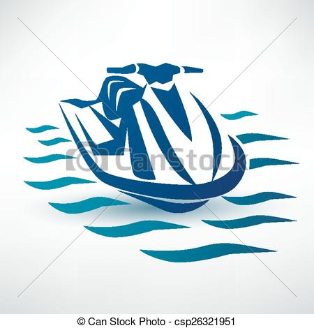 Clipart Vector of jet ski, water scooter outlined vector sketch.