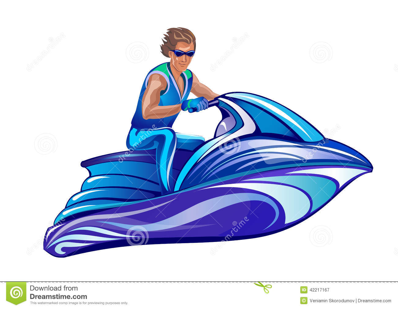 Water Scooter Stock Illustrations.