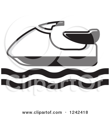 Clipart of a Blue Water Scooter Jetski.