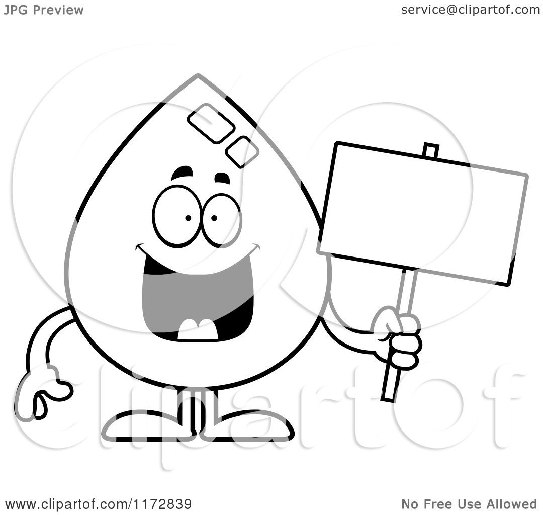 Cartoon Clipart Of A Happy Water Drop Mascot with a Sign.
