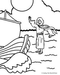 Jesus Walks on Water Coloring Page.