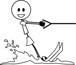 Water Skier Clipart Image: Stick Figure Girl or Woman on.