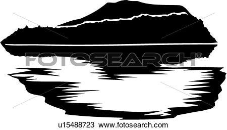 Clipart of , sea, lake, land, mountain, sky, water, u15488723.