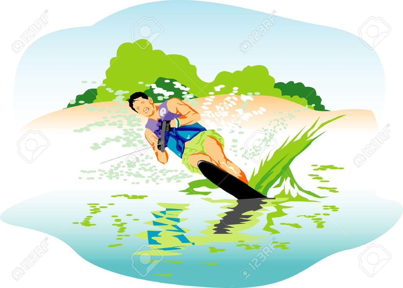 Water Skiing Vector Illustration Royalty Free Cliparts, Vectors.