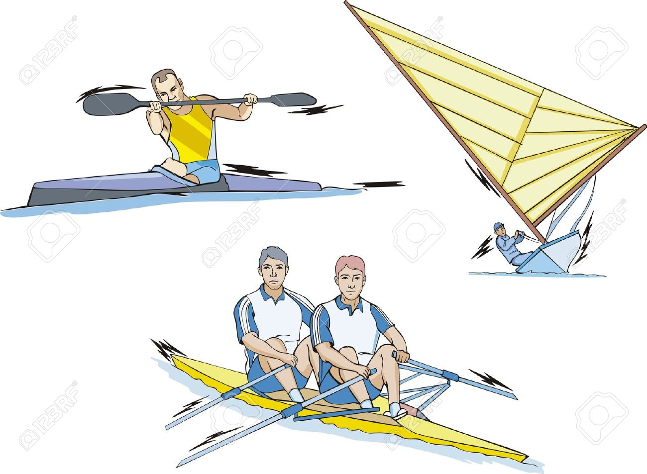 Water Sports: Whitewater Slalom, Rowing And Sailing. Royalty Free.