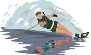 Slalom water skiing clipart.