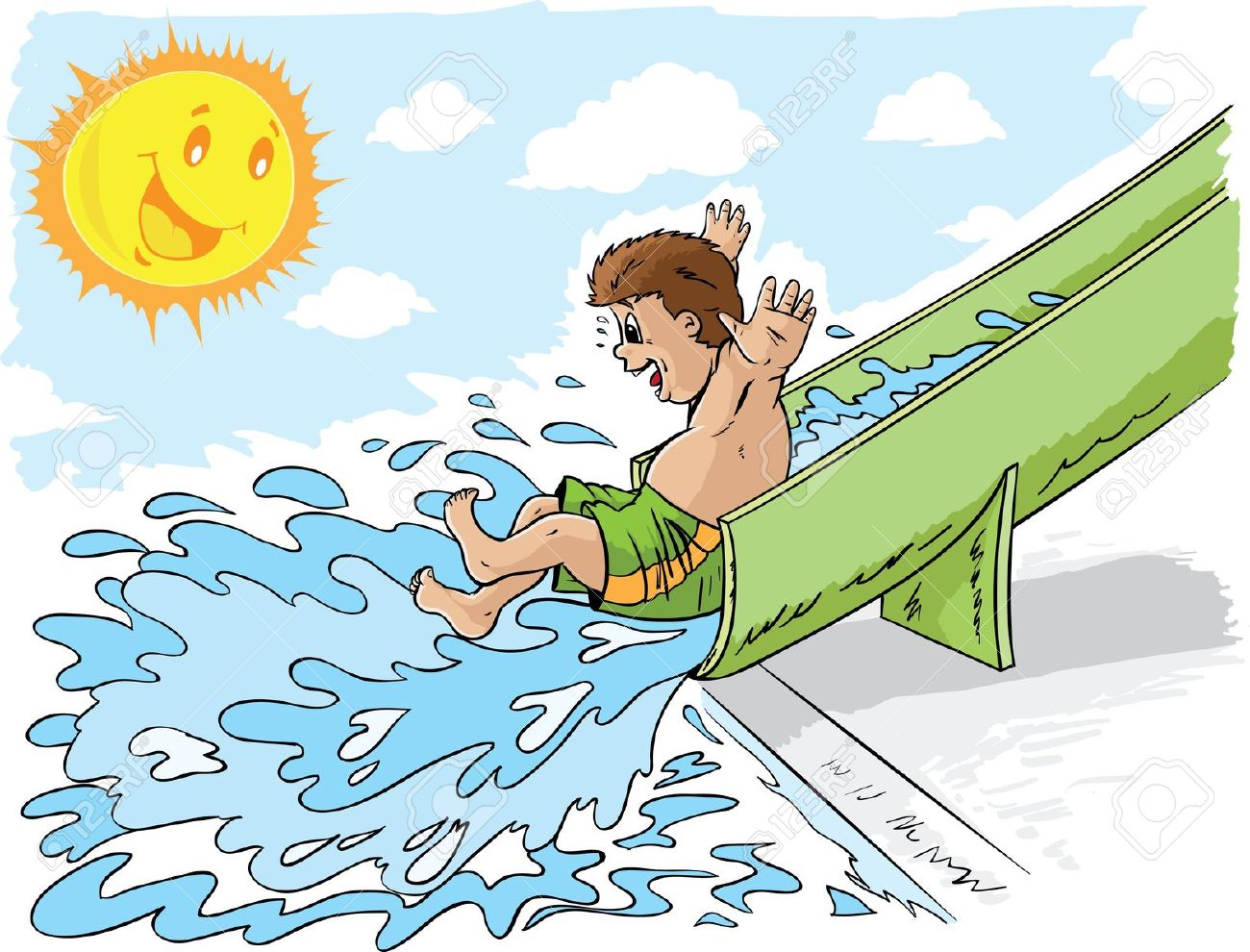 Water slide clipart - Clipground