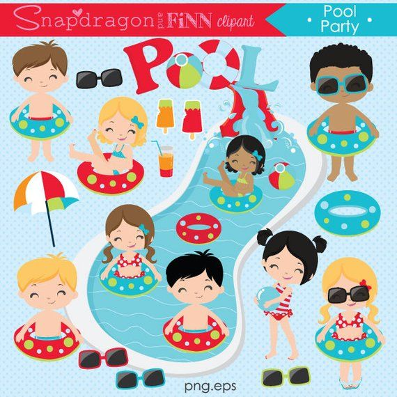 Our Summer Pool Party clipart set is perfect for your Pool.